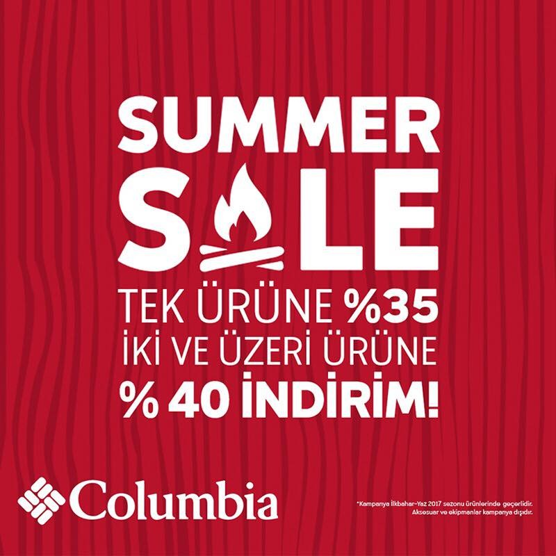 Summer Sale tek ürüne %35 iki ve üzeri ürüne %40 indirim Columbia Sportswear'da...