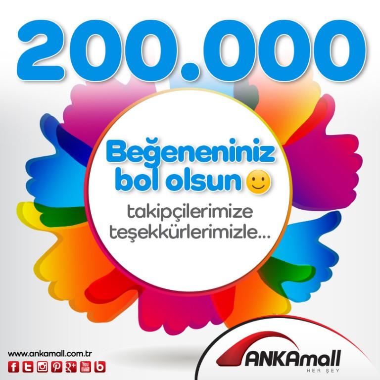 200.000 Facebook Takipçimize Teşekkürlerimizle!